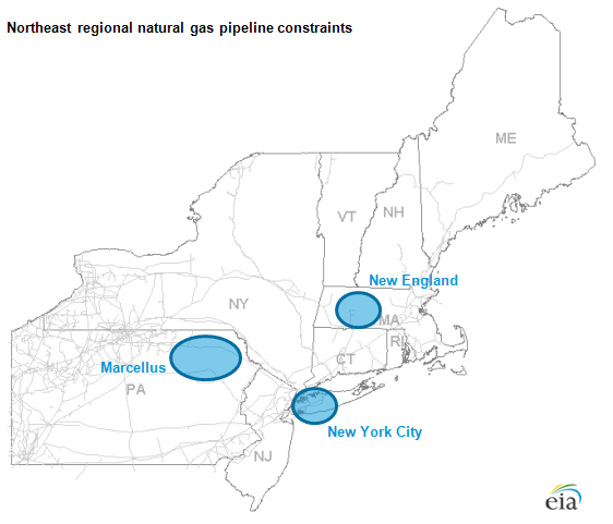 The three Northeast pipeline constraint areas.